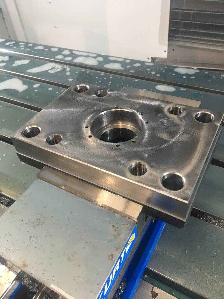 This is a machined cylinder mounting plate that we fabricated.